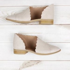 Scalloped Cut Out Side Flats in Beige